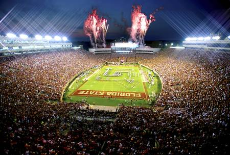 Example of FSU stadium in perspective on angled canvas