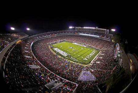 Example of Georgia stadium in perspective on angled canvas