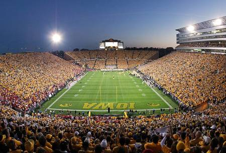 Example of Iowa stadium in perspective on angled canvas