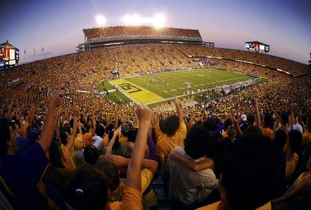 Example of LSU stadium in perspective on angled canvas