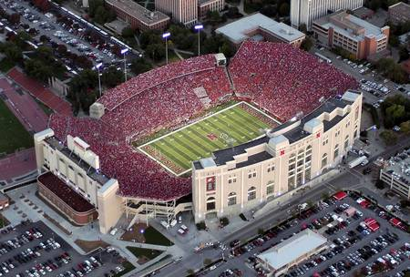 Example of Nebraska stadium in perspective on angled canvas