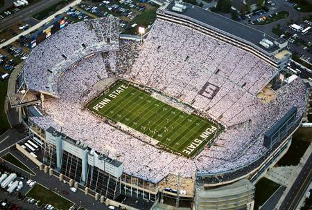 Example of Penn State stadium in perspective on angled canvas