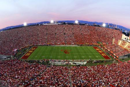 Example of USC stadium in perspective on angled canvas
