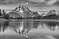 Mount Moran from Oxbow Bend B&W