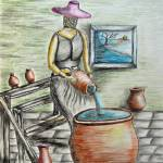 """A woman with potteries"" by thuraya"