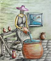 A woman with potteries