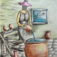 A woman with potteries Art Prints & Posters by thuraya o