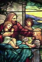 Jesus Blessing The Children in stained glass