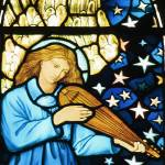 """Angel Playing Mandolin in stained glass by William"" by neilepi"