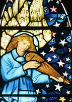 Angel Playing Mandolin in stained glass by William