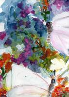 Abstract Wildflowers and Butterflies Watercolors