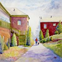 Walking the Dog Art Prints & Posters by Judy Mudd