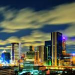 """Skyline shot of Bangkok at night"" by ingojez"