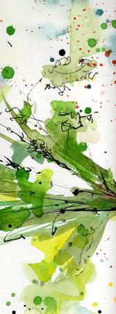 Abstract Green Spray Parsley Watercolor