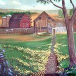 """( Barn Scene )From The Back Porch"" by EMBlairArtwork"