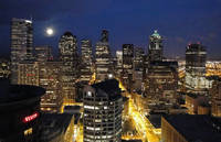 Moonlit Seattle Skyline