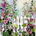 """Hollyhock Fence"" by Sharon_himes"
