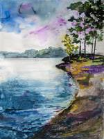 Lake Lanier Georgia Landscape Watercolor by Ginett
