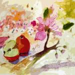 """Abstract Apples and Blossoms by Ginette"" by GinetteCallaway"