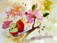 Abstract Apples and Blossoms by Ginette