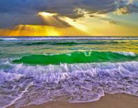 Breaking Wave Gold Sunrays Sunset Fine Art Prints