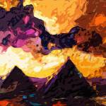 """Abstract Modern Panoramic Egypt Pyramids"" by GinetteCallaway"