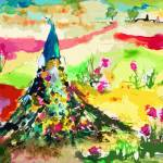 Abstract Peacock Landscape Meadow and Flowers