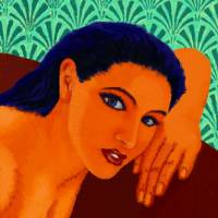 Greek Woman on Red Couch Art Prints & Posters by Derek Alvarez