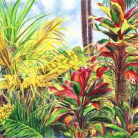Glowing Ti Leaves of the Hawaiian Islands Art Prints & Posters by Jenny Floravita
