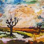 """""""Abstract Landscape Autumn Migration Oil Painting"""" by GinetteCallaway"""