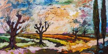 Abstract Landscape Autumn Migration Oil Painting