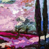 Abstract Landscape Cypress Trees Lavender