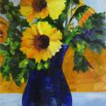 """Sunflowers in Blue Vase"" by maryanneardito"
