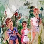 Modern Decor Children In A Flower Meadow