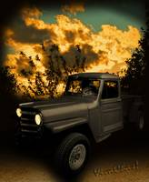 My 51 Willys Jeep Pickup Truck at Sunset