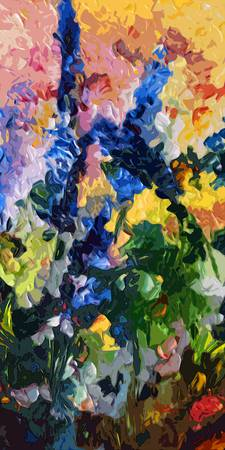 Abstract Delphiniums Diptych A Floral Decor Blue