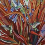 """""""Hummingbirds with Agapanthus and Flax"""" by ClydeYoshida"""