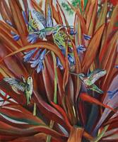 Hummingbirds with Agapanthus and Flax