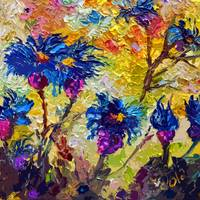 Abstract Flowers Cornflowers Provence Modern Decor