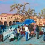 """Mexican Plaza Triptych - left panel"" by PeterWorsley"