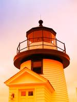 Lighthouse bathed in warm colors