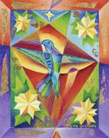 Hummingbird Prism with Yellow Flowers