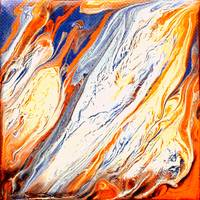 Modern Fluid Painting in Blues and Oranges