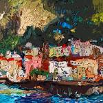 """Abstract Panoramic Amalfi Coast Italy Painting"" by GinetteCallaway"
