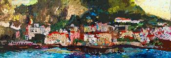 Abstract Panoramic Amalfi Coast Italy Painting