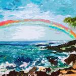 """Abstract Palms Beach and Rainbow Art by Ginette"" by GinetteCallaway"