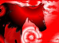 Southwest RED Horse Abstract