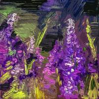 Abstract Lupines Flower Art by Ginette