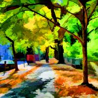Foliage along 5th Avenue in NYC Art Prints & Posters by New Yorkled