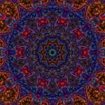 """""""Blue Red Gold Organic Abstract Tile 6"""" by bloomingvinedesign"""